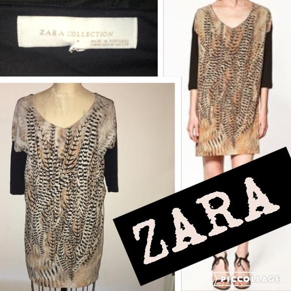 234c3af0 Zara Dresses | Collection Feather Print Dress | Poshmark