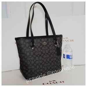 New Coach signature fabric leather small zip tote