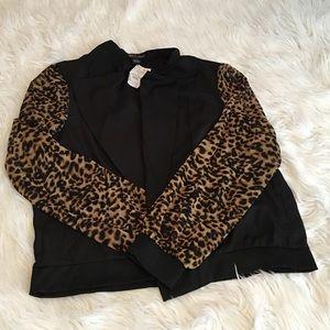 Red snap Jackets & Blazers - Leopard and Black Sporty Blazer: size 2x