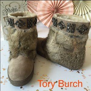 Tory Burch Embellished Jewel Rabbit Suede Bootie