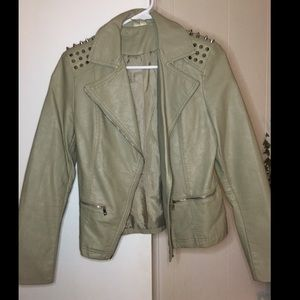 Taupe Beige Faux Leather Jacket