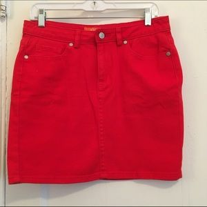 joe Fresh red denim skirt