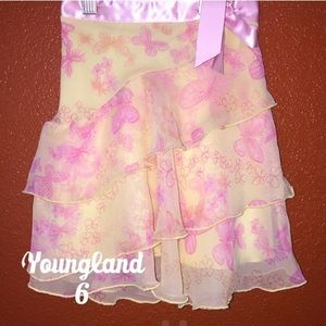 Youngland Yellow Pink Butterfly Tiered Skirt 6 NEW