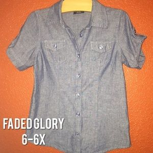 Faded Glory Chambray Jean Button Up Shirt 6-6x