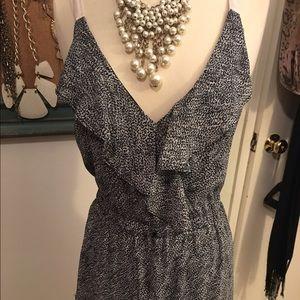 Black and white print chiffon short dress