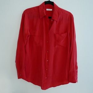 Equipment red silk shirt
