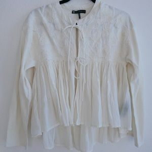 House of Harlow boho tie front blouse