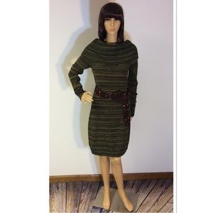 MAGGY L GREEN SWEATER DRESS