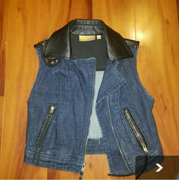 88686312d Vera Wang Jackets & Coats | Jean Jacket With Leather Collar | Poshmark