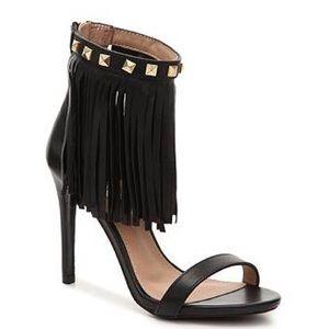 Steve Madden Shoes - Nib Steve Madden Siooux Black Leather Fringe heels