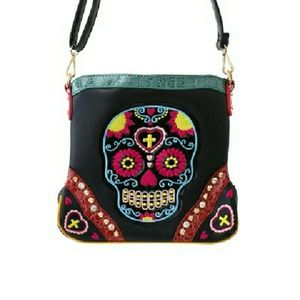 Handbags - Beautiful Multicolor Skull Messenger Bag