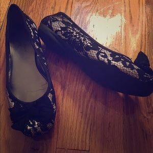 Lace Bow Ballet Flats
