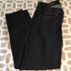 J. Crew toothpick ankle jeans in dark rinse.