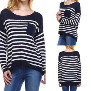 Classic Paper Doll Sweaters - Striped Sweater Knit Top