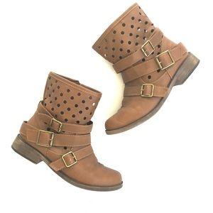 Breckelles Shoes - Brown cut out buckle moto combat boots