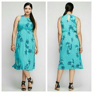Lane Bryant Dresses & Skirts - Palm print midi dress vacation tropical 2x 18 20