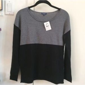 NW SPLENDID BLACK CASHMERE COLORBLOCK SWEATER XS/S