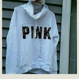 PINK Leopard Print Cowlneck Pullover Sz XS BNWT