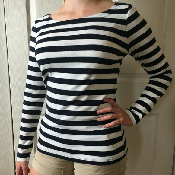 Banana Republic Navy And White Striped Boatneck Shirt