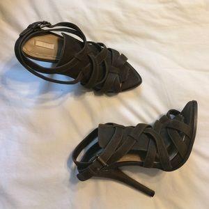 Zara Size 40 Olive Green Suede Strappy Heels