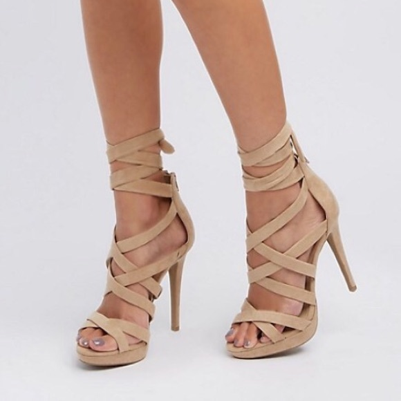 low price sneakers fashion style Wild Diva Shoes | Tan Strappy Lace Up Heels | Poshmark