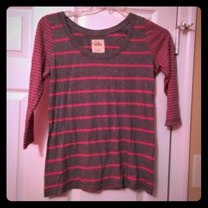 NWOT 3/4 sleeve striped hollister shirt size small