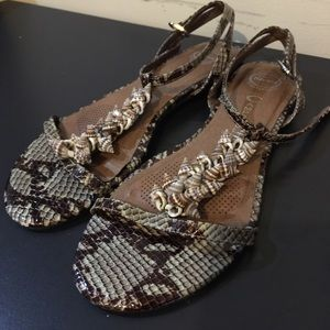 Jeffrey Campbell Shoes - Jeffrey Campbell Seashell Snake Print Sandals