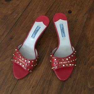 Prada Red Orange Studded Heels Sandals 34.5 35 5