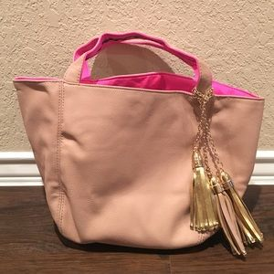 Deux Lux Handbags - Deux Lux tan and pink reversible tote