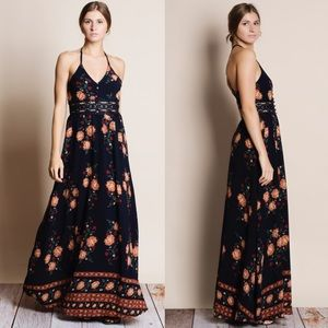 Floral Faux Button Maxi Dress