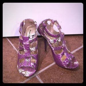 Michael Antonio purple snakeskin print cage heels