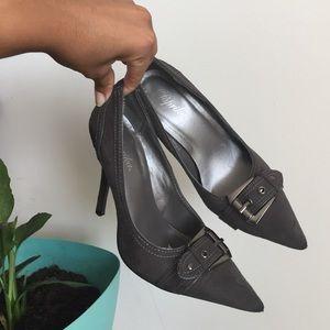 Shoes - Grey buckle heels