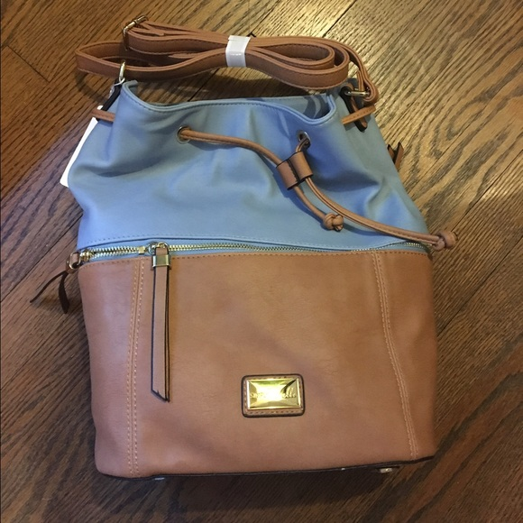 38 Off Simply Noelle Handbags Blue And Tan Leather