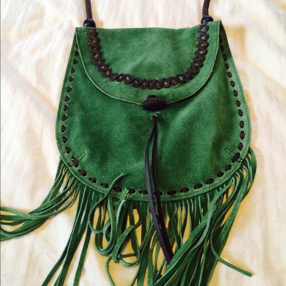 d007cfe148 Lucky Brand Handbags - Lucky Brand Green Suede Fringe Purse