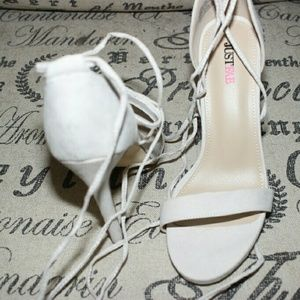 Nude heels with lace up straps