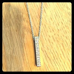 White gold rectangle necklace