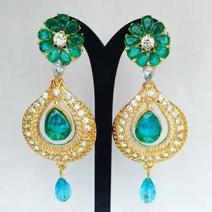 Aqua Bollywood Indian Chandelier Crystal Earrings