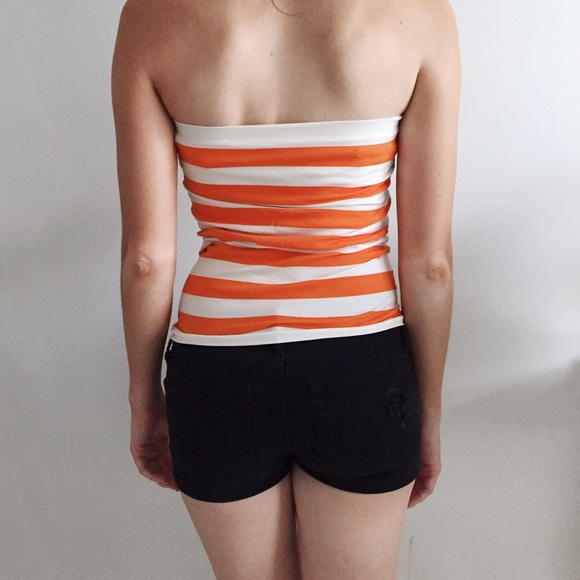 Ambiance Tops - Orange & White Stripe Tube Top