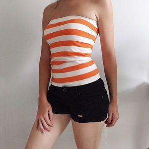 Ambiance Apparel Tops - Orange & White Stripe Tube Top