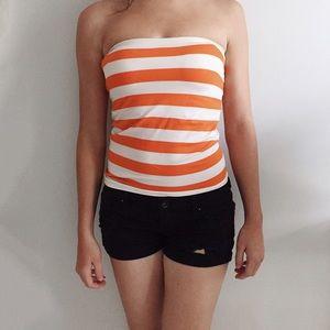 Ambiance Tops - Orange & White Stripe Tube Top