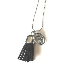 Boho Leather Tassel Om Charm Necklace Silver Black