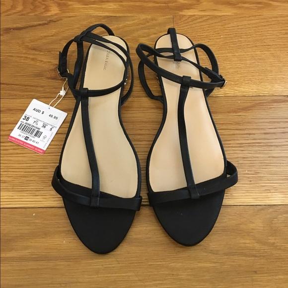 c4e6bcc3f53 NWT Zara Black Sandals with gold  spike  heels