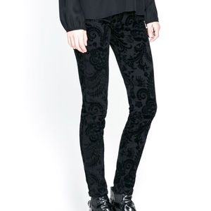 Offspring Pants - Black Velvet Damask Leggings