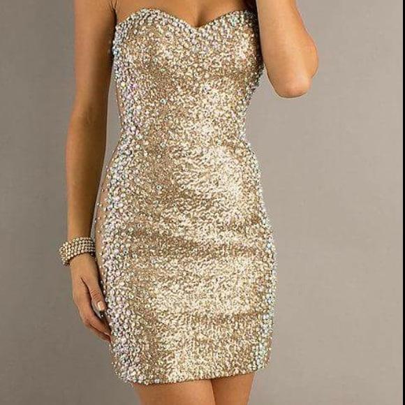 Prom Girl Dresses Mini Gold Sequin Strapless Dress Poshmark