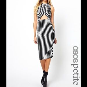 ASOS Striped Body-Conscious Dress W/ Cut Out Front