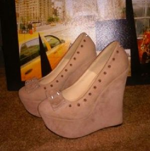 Traffic Shoes - Suede Wedge Heels w/spikes