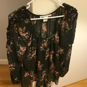 Sheer Black and Floral Blouse