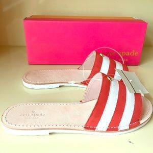 kate spade Shoes - Kate Spade imperiale red white stripe slide sandal