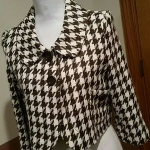 Tulle Short Brown & Cream Wool Hounds Tooth Coat