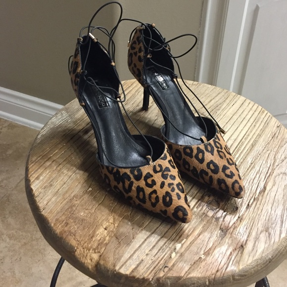 611f57a00 Topshop Shoes | Leopard Lace Up Heels | Poshmark